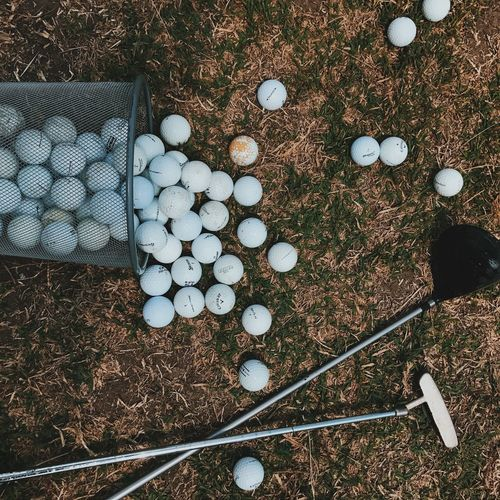 High Angle View Of Golf Balls