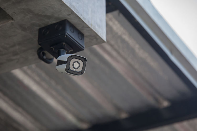 Low Angle View Of Security Camera
