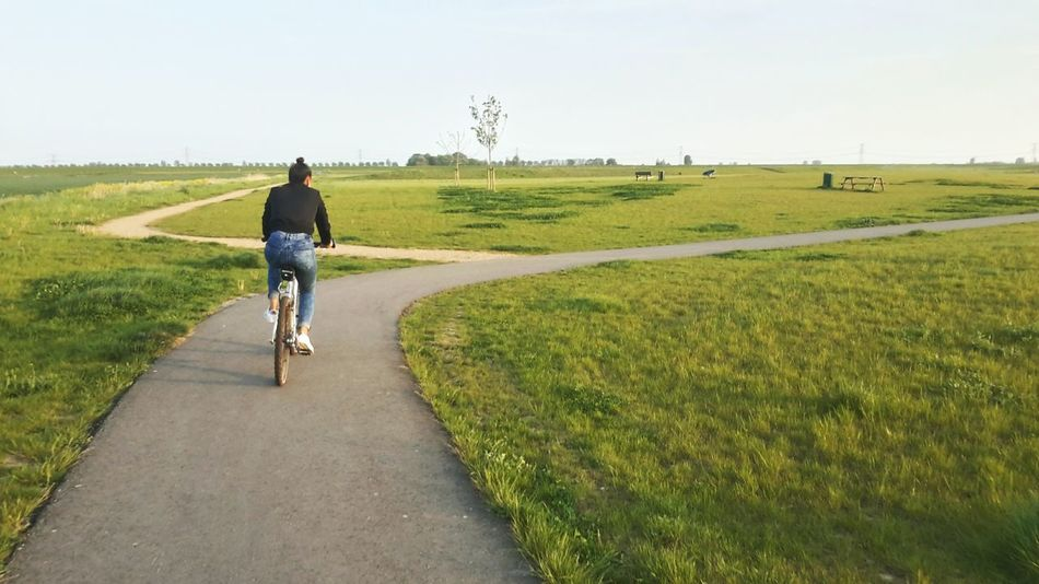 Woman cycling in an open field. Grass Full Length Clear Sky Motion Rear View Road The Way Forward Landscape Transportation Green Color Day Casual Clothing Tranquil Scene Footpath Nature Outdoors Country Road Vanishing Point Grassy Tranquility Woman Cyclist Sportive Dutch Landscape Tumblr One Person