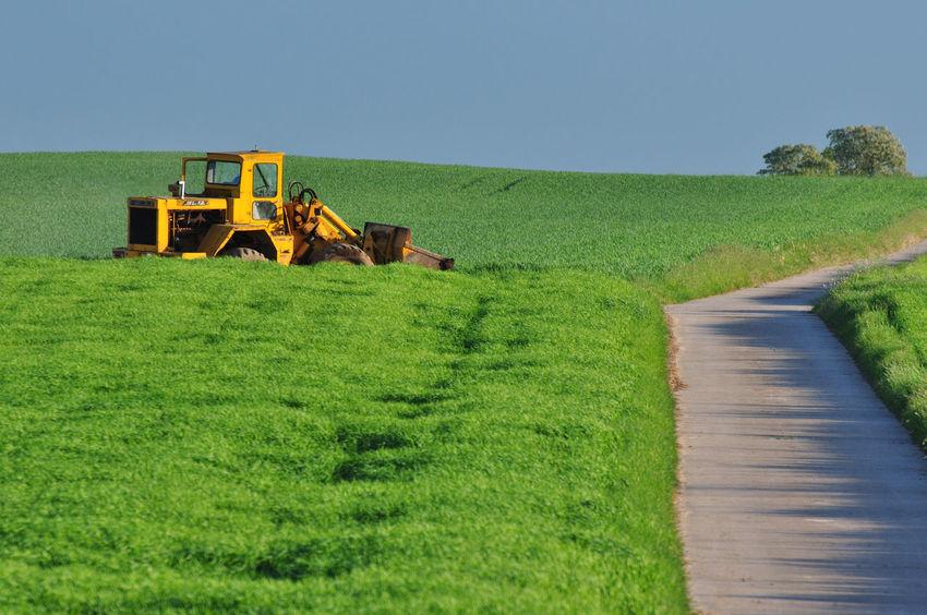 Agriculture Agriculture Photography Blue Sky Clear Sky Clear Sky Day Field Grass Grass Green Color Green Color Growth Landscape Lane Machines Nature No People Outdoors Plants Rural Scene Scenics Sky Streetphotography Tractor Tree