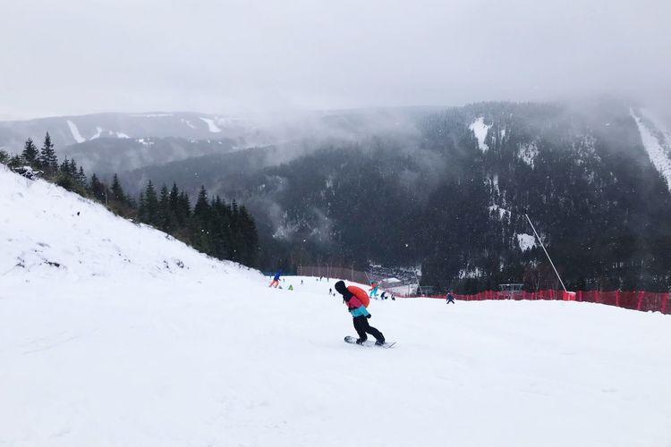 Snowboard Fog Ski Fichtelberg Keilberg Snowboarder Snowboarding Snowboard Snow Winter Cold Temperature Sport Winter Sport Leisure Activity Mountain