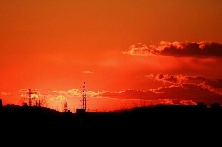 Sunset Sunsets Silhouette Orange Color Sky Cloud Red Red Color Tokyo Japan Skyporn RedSky Orangesky Tower Steeltower Highvoltage