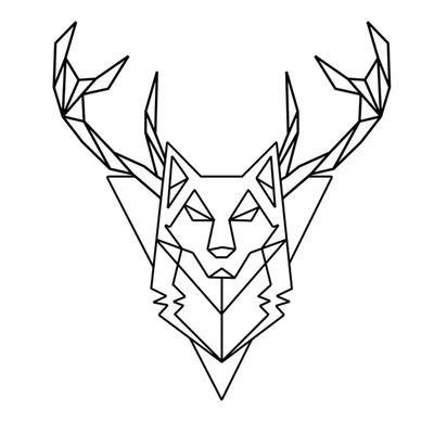 Photoshop фотошоп Polygon полигон Wolf волк рога Horns