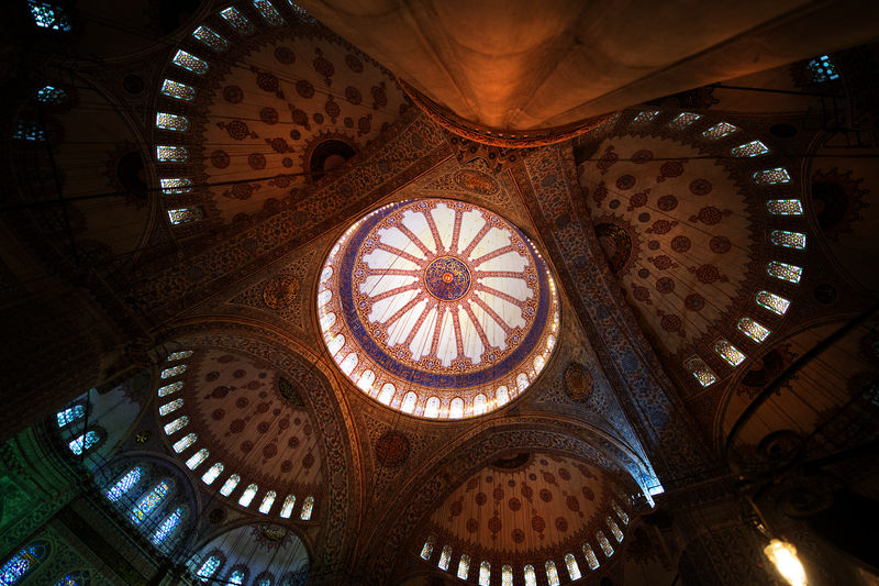 Istanbul Turkey Architecture Architecture And Art Belief Bluemosgue Bluemosque Building Built Structure Ceiling Cupola Directly Below Dome Glass Indoors  Lighting Equipment Low Angle View No People Ornate Pattern Place Of Worship Religion Spirituality Travel Destinations