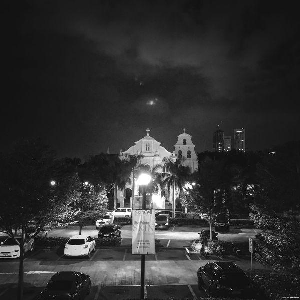 Santuario in monochrome Illuminated Night Car Sky Built Structure Tree Architecture Building Exterior