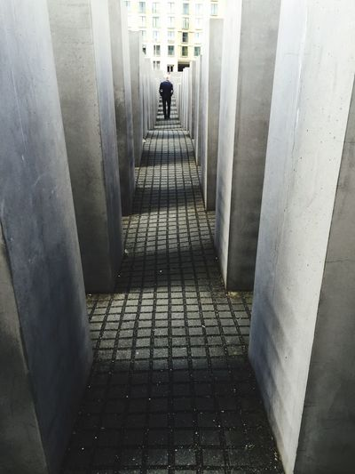 Strolling Around One Man Concrete Wall Blocks Holocaust Memorial Berlin Lonely View From Behind Mix Yourself A Good Time