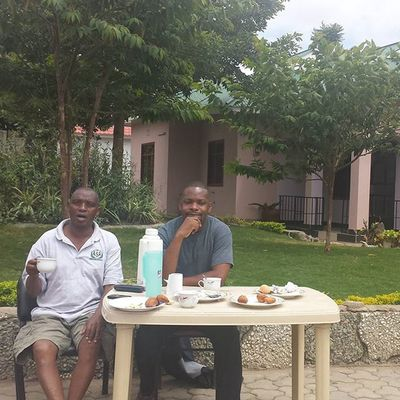 Early morning breakfast with my uncle at his house in Arusha . Tanzania MyAfricanVacation Backtomyroots