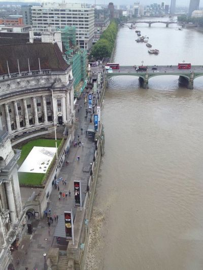 View From Above High Angle View London River Thames London Eye Observation Wheel