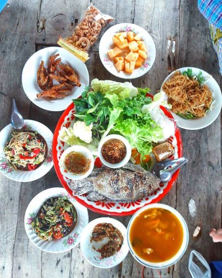 Food Stories Ready-to-eat Food Variation Food And Drink Plate Table Healthy Eating Bowl No People Freshness High Angle View Meat Meal Indoors  Choice Day Family Time Lunch Time! LocalFood Culture Thai Food Familyday Happymeal