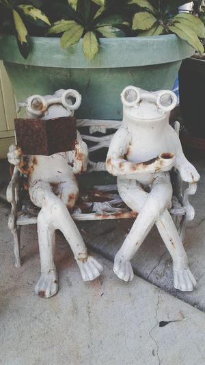 two cermic frogs straight from the camera Art And Craft No People Close-up Indoors  Fun Shooting Just For Fun Textured  Straight From The Camera Frogs Cermic Products Sculpture Cermic Art Just Shooting Around!!