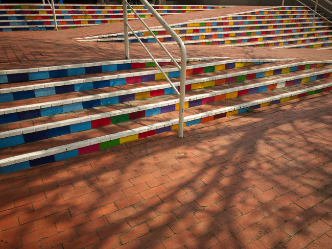 Handrail Metal Shadows & Lights Stairs Steps Tree Bricks Day Handrail  Handrails Multi Colored Multicoloured No People Outdoors Rail Shadow Staircase Stairways Steps And Staircases