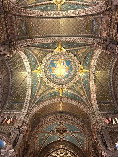 Lyon - Notre Dame Religion Belief Art And Craft Pattern Built Structure Place Of Worship Architecture Directly Below Travel Destinations Mural Building Creativity Decoration No People Design Indoors  Ornate Ceiling Spirituality Low Angle View EyeEmNewHere