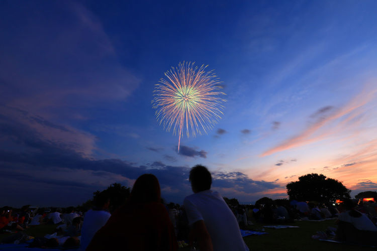 In late summer Fireworks Hello World Tadaa Community Event Firework Firework - Man Made Object Firework Display Lifestyles Outdoors People Silhouette Sky Women