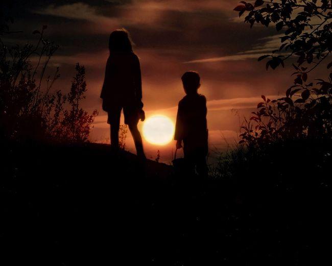 Silhouette siblings walking on field during sunset