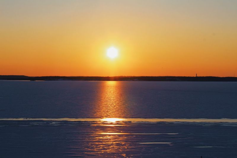 """""""Look at that sunsaaaa!"""" Sunset Scenics Sun Beauty In Nature Sea Nature Orange Color Tranquility Water Sunlight Sky Reflection Outdoors"""