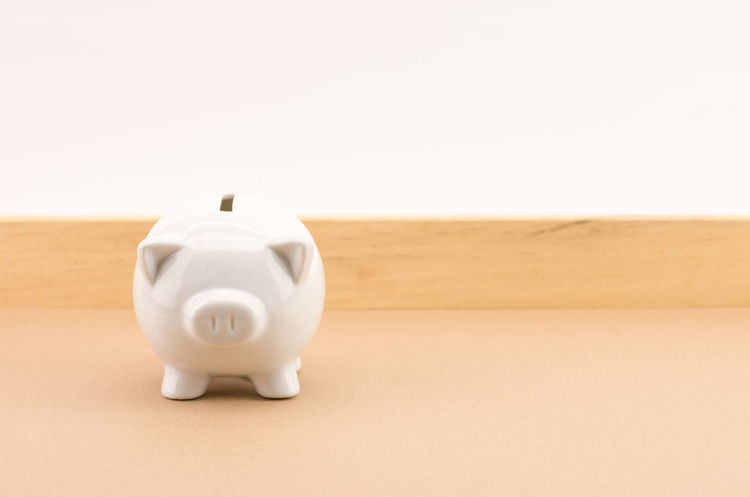 white clay piggy bank Finance Studio Shot Piggy Bank Copy Space Business Investment Savings No People Indoors  Single Object Wealth White Color Close-up Representation Home Finances Animal Representation White Background Wood - Material Colored Background Planning Beige Background Coin Bank