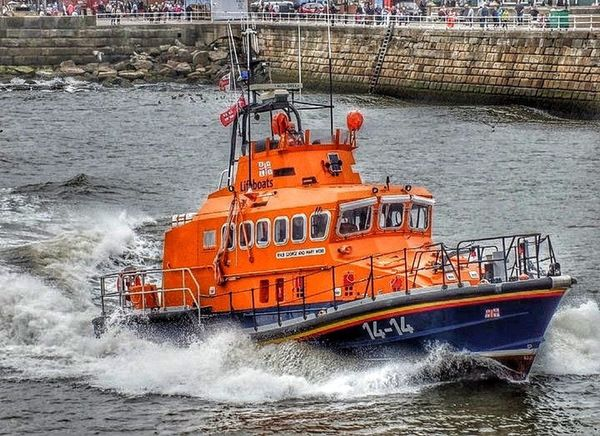Nautical Vessel Lifeboat RNLI Motion Harbour Entrance Water Sea