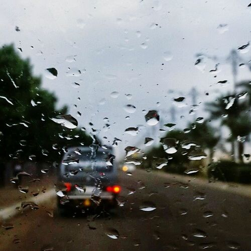Relaxing Rain Day Car Blur Blue Sky Red Lovely Loveyourlife Lovey