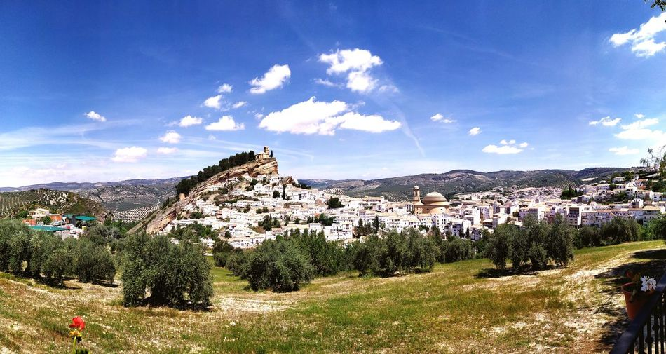 Panoramic view of townscape against sky