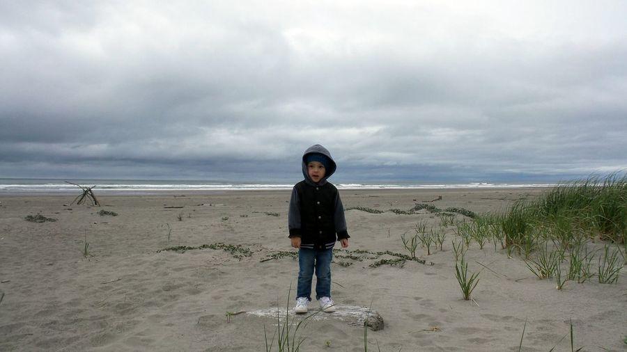 Beach Sea Sand Cloud - Sky One Person Portrait Sky Looking At Camera Horizon Over Water Day Outdoors Child My Boy Long Beach Washington Washington