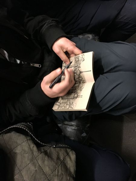 Berlin aus seiner Hand Berlin Black Color BVG Moments Drawing Early Morning Fine Art Hands One Man Only One Person Pen U-Bahn U2