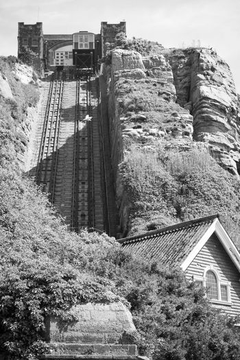 Architecture Black & White Black And White Building Exterior Built Structure Cliff Railway Day Low Angle View Monochrome Mountain Nature No People Outdoors Scenics Sky Tracks Tree Victorian Wooden Coach