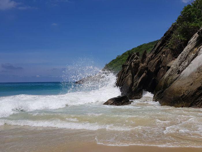 Wave against rock Wave Splah Splash Carribean Caribbean Sea Water Sea Wave Beach Sky Horizon Over Water Island Coastline Seascape Rocky Coastline Ocean