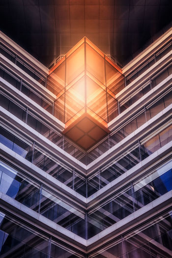 A modern building in MAdrid (spain) Abstract Abstract Photography Architecture Building Exterior Built Structure Cube Fine Art Photography Illuminated Madrid Modern No People The Architect - 2017 EyeEm Awards