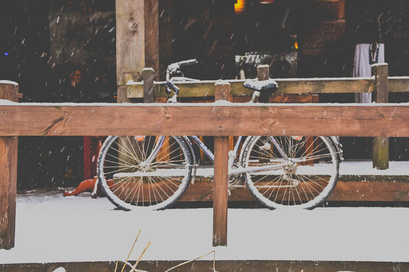 Bicycle Day Land Vehicle Minimal Minimalism Mode Of Transport No People Outdoors Snow Spoke Stationary Transportation Wheel Winter