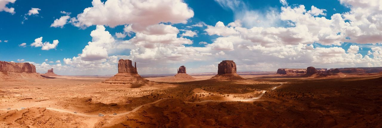 Panorama frame of the monument valley, navajo nation between the borders of arizona and utah