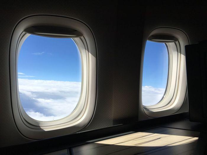 Sky seen through airplane windows