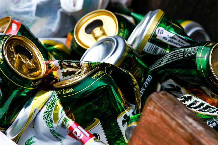 Abfall Alcohol Arts Culture And Entertainment Beer Beer Time Bier Cans Close-up Day Defecation Dose Drink Drop Fun Garbage Green Color Müll No People Recycle Refuse Rubbish Trash Waste
