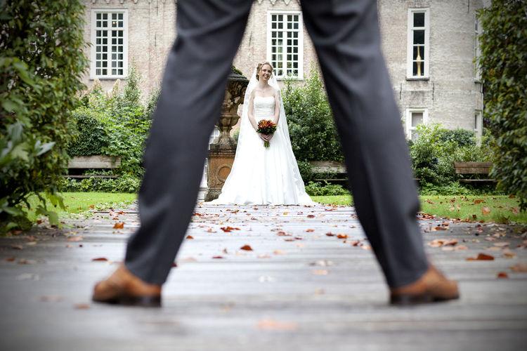 Looking trough his legs Bokeh Bride Bride And Groom Couple Depth Of Field Legs Love Marriage  Path Wedding Wedding Photography