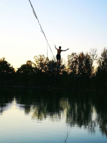 Athlete Water Sportsman Clear Sky Competition Sport Men Standing Sunset Lake