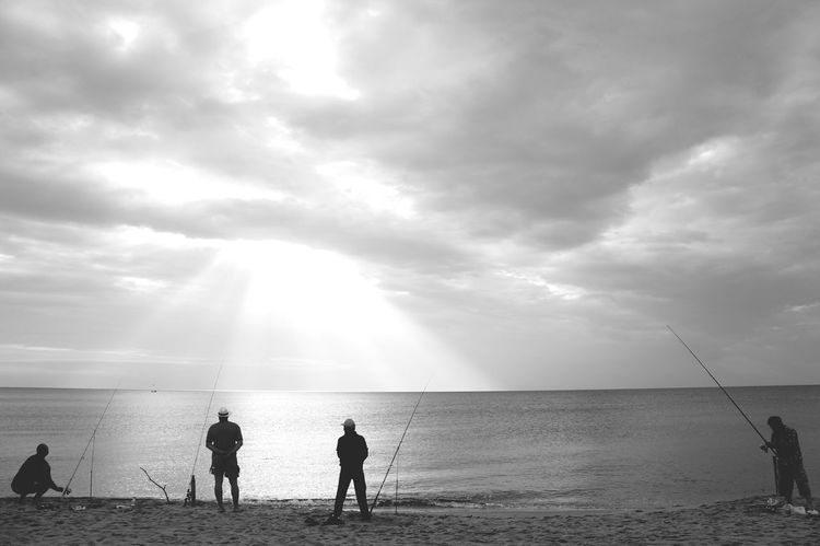 Waitng the great fish Black And White Beach Fishing Sea Fishing Water Sea Beach Wave Men Togetherness Sand Summer Silhouette Boys Seascape Coast Horizon Over Water Fisherman Lightning Coastline