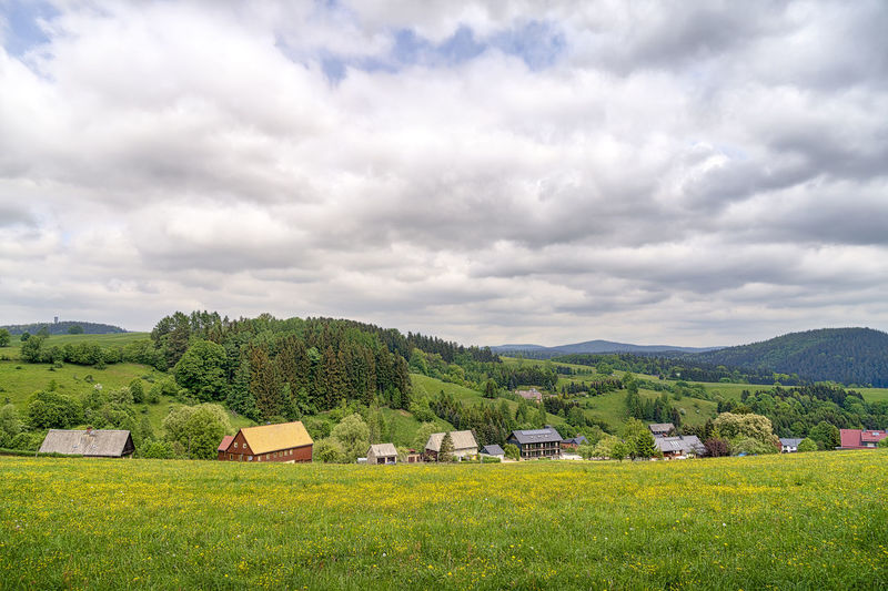 Saxony Saxon Switzerland Saxon Switzerland National Park National Park Nature Landscape Panorama Spring Springtime Season  Plant Scenics - Nature No People Beauty In Nature Outdoors Village Valley Mountain Field Land Rural
