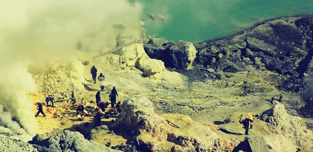 Landscape Outdoors Day Extreme Terrain Sulphur Mountain Rock - Object INDONESIA IjenCrater Sulfur Miners Java