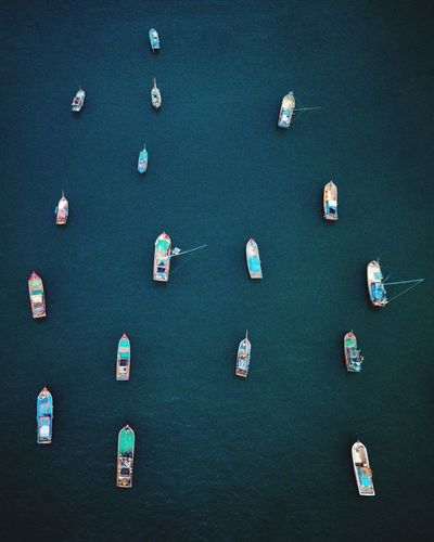 Vietnamese boats from above Water Nautical Vessel High Angle View Sea Transportation Mode Of Transportation Day Sport Aerial View In A Row Beauty In Nature Sailboat Beach No People