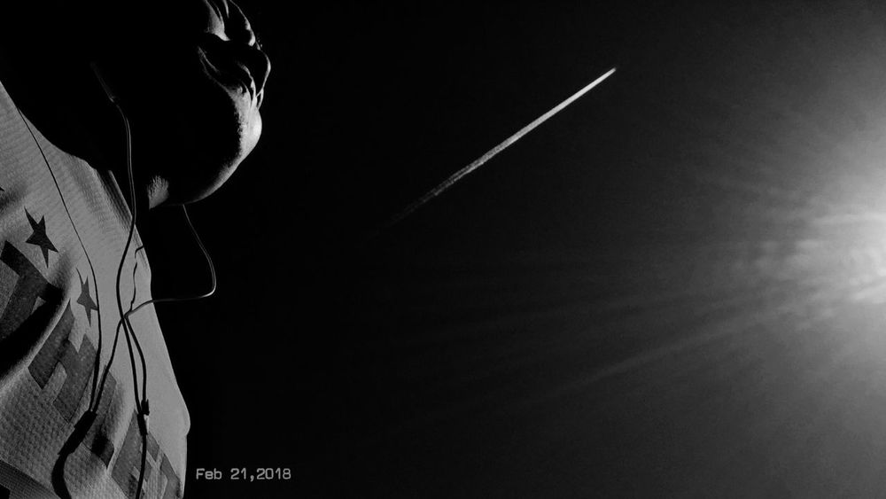Feb 21,2018 Aerial Cloud Runner Oume City Marathon Black And White Blackandwhite Monochrome_life Monchrome My Wallpaper Of Today TODAY'S MY WALLPAPER Night Low Angle View One Person Outdoors Men Real People Close-up
