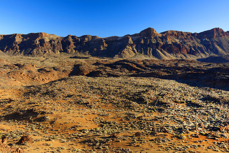 Rocky Mountains At El Teide National Park Against Clear Blue Sky
