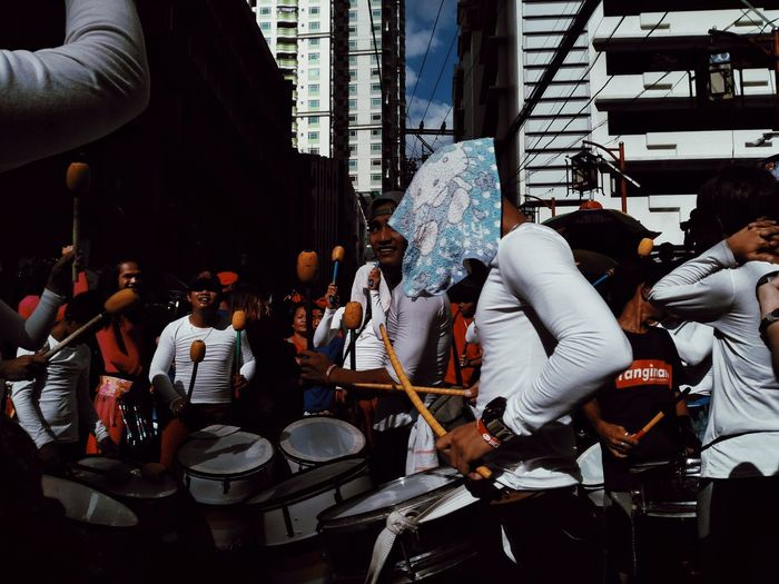 Music Musical Instrument Group Of People Arts Culture And Entertainment Crowd City Adult Men Musical Equipment Drum - Percussion Instrument Leisure Activity Celebration Eyeem Philippines Mobilephotography Streetphotography Chinese New Year Event