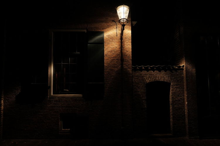 Architecture Building Built Structure Dark Deterioration Exterior Illuminated Low Angle View Night No People Old Street Lamp