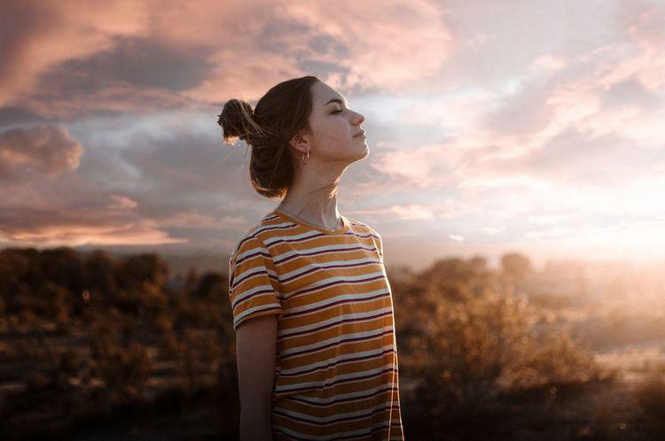 Fresh breathe 🌬️ Warm Light Sunset Nature Focus On Foreground Close-up Landscape Fresh Freshness Freedom EyeEm Best Shots Woman Sun Cloud - Sky