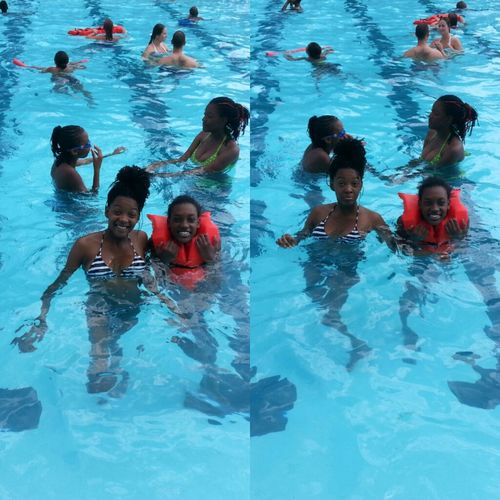 - Acting silly yesterday in the pool.