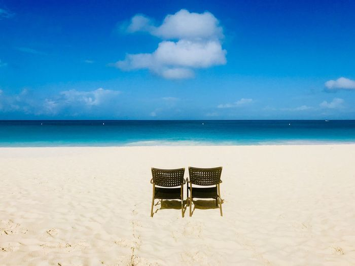 South America Ocean Idyllic Paradise Tropical Antilles Island Dutch Caribbean Caribbean EyeEm Selects Beach Sky Sea Chair Sand Tranquility Horizon Over Water Tranquil Scene Cloud - Sky Beauty In Nature Day Outdoors No People Scenics Water Nature Seat