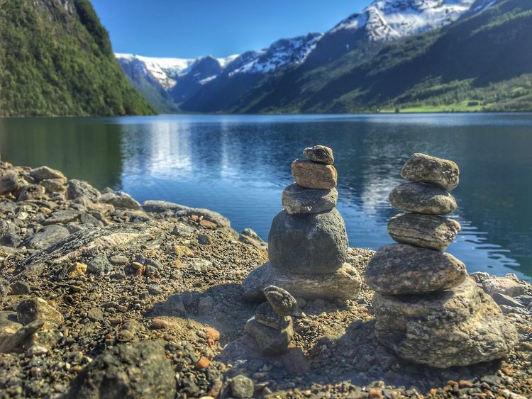 Mountain Nature Beauty In Nature Tranquil Scene Tranquility Reflection Glacier Three Family Lake View Lakeview Norway Snow Stonepile Stones Pile Lakeshore Water Nature Day Lake No People Outdoors Sky Travel