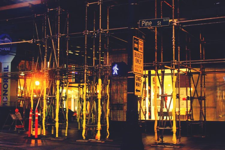 Forever under construction in Seattle Night Illuminated Built Structure City Architecture No People Outdoors Depth Cityscape Seattle Streets Seattle Street Art