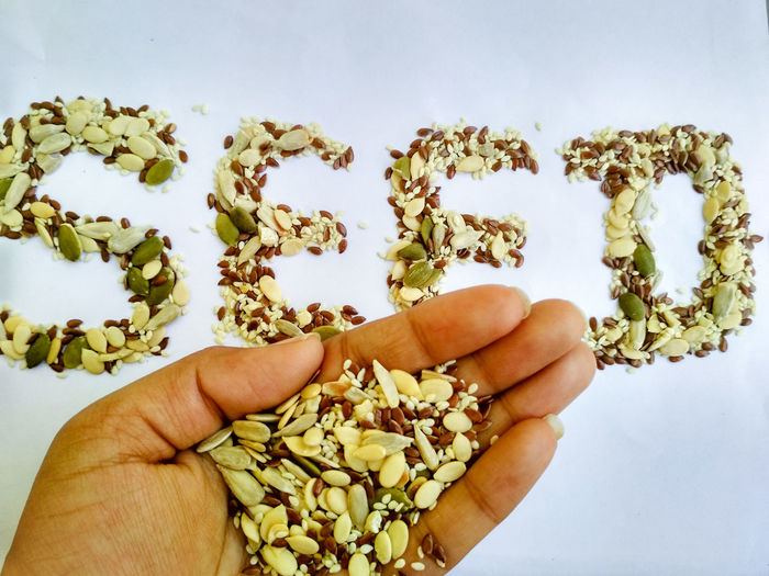 Food Protein Seeds Mixed Mix Written Words Alphabet Letter Sunflower Seeds Healthy Lifestyle Healthy Eating Weight Management Linseed Melon Seeds Flaxseed Sesame Seed Full Frame Weightloss Backgrounds Hand Human Hand Holding Human Hand Close-up Handful Personal Perspective Hands Cupped Cropped Palm Human Finger
