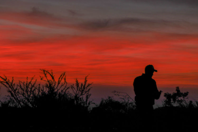 Silhouette man looking at sunset