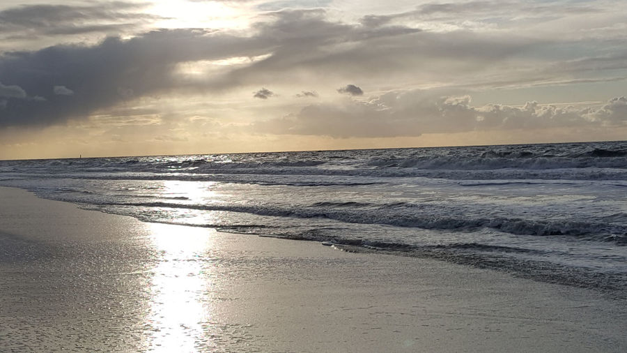 Beach Beauty In Nature Coast Horizon Over Water Nature North Sea Outdoors Sea Sunlight Sunset Tranquility